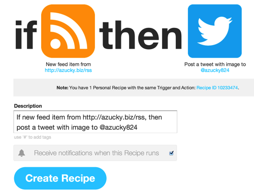 Create Recipe IFTTT